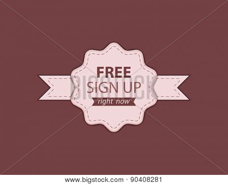 Sign Up badge for website. Vector illustration