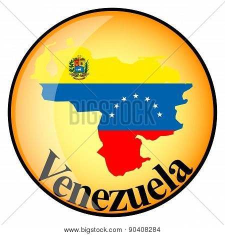 Orange Button With The Image Maps Of Venezuela