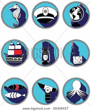 Nautical elements III icons in knotted circle including seahorse, octopus, captains hat,  ship, draw