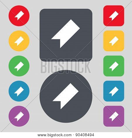 Bookmark Icon Sign. A Set Of 12 Colored Buttons. Flat Design. Vector