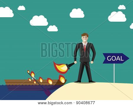 Businessman Burning Boat