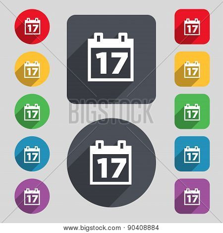 Calendar, Date Or Event Reminder Icon Sign. A Set Of 12 Colored Buttons And A Long Shadow. Flat Desi