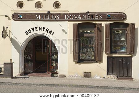 Exterior of a souvenir shop in the historical town of Vilnius, Lithuania.