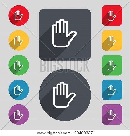 Hand Print, Stop Icon Sign. A Set Of 12 Colored Buttons And A Long Shadow. Flat Design. Vector