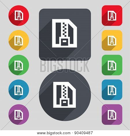 Archive File, Download Compressed, Zip Zipped Icon Sign. A Set Of 12 Colored Buttons And A Long Shad