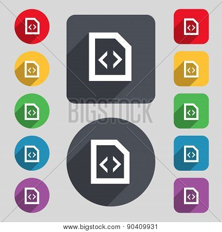 Programming Code Icon Sign. A Set Of 12 Colored Buttons And A Long Shadow. Flat Design. Vector