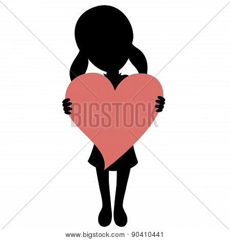 SIlhouette of a little girl holds a heart