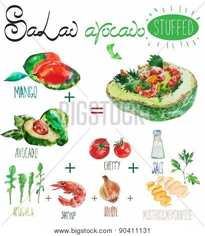 Watercolor vector salad recipe with avocado filling.