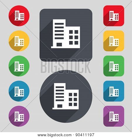 High-rise Commercial Buildings And Residential Apartments Icon Sign. A Set Of 12 Colored Buttons And
