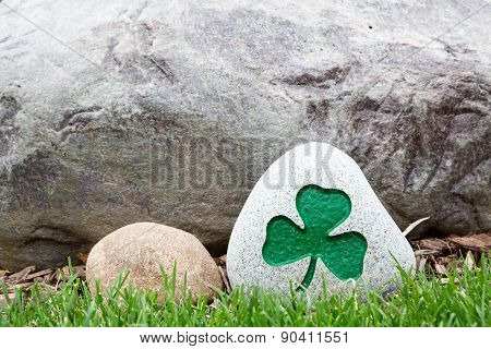 Decorative Rock With A Painted Green Shamrock