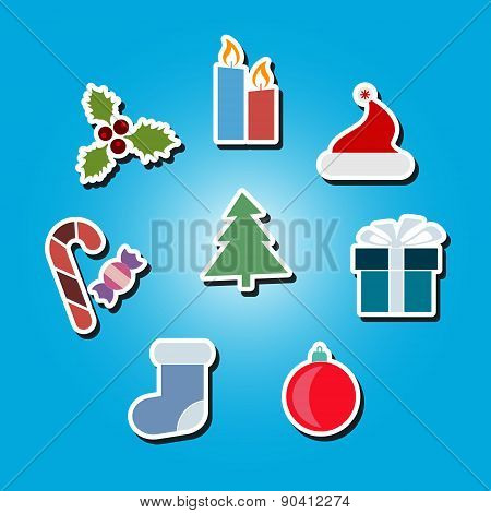 set of color icons with New Year and Christmas symbols