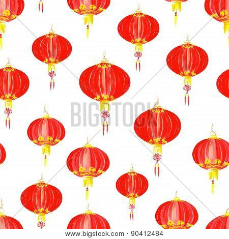 Asian Paper Lantern  Seamless Vector Pattern