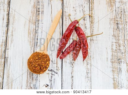 Powder Chili In Wooden Spoon