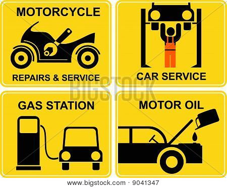 Autoservice, Motorcycle Repairs, Change Motor Oil, Gas Station - Vector Signs