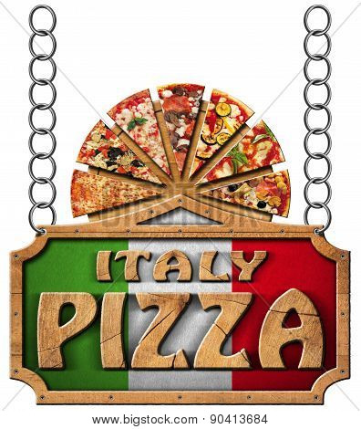 Italy Pizza - Wooden Sign With Metal Chain