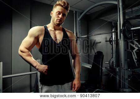 Strong Bodybuilder Handsome Athlete In Gym