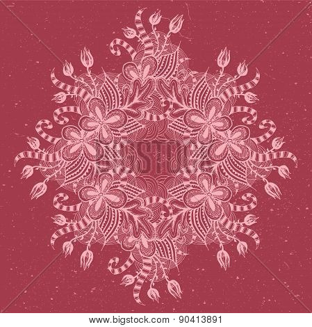 Cute ornamental illustration with floral doodle and threadbare background.