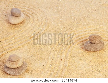 Zen mindset concept on sand