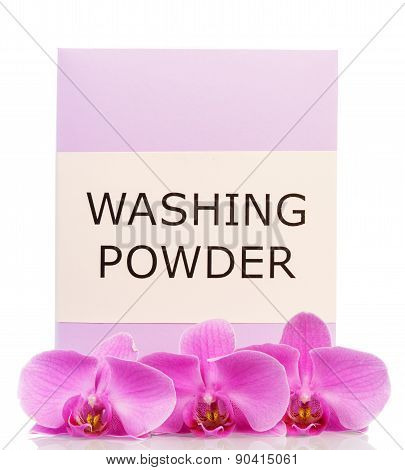 Washing powder with orchid flowers