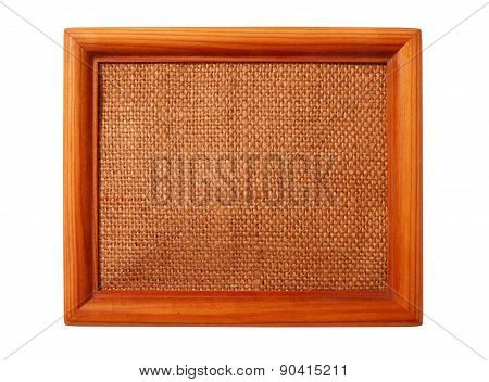 Wooden Frame With Sacking Isolated On The White