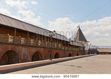 Wall And Southwest Tower (xvi C.) Of Kazan Kremlin, Russia