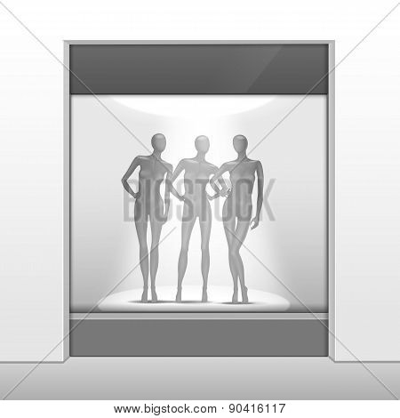Clothing Shop Boutique Store Front with Mannequins