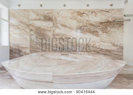 Marble Bathtub In A Bathroom