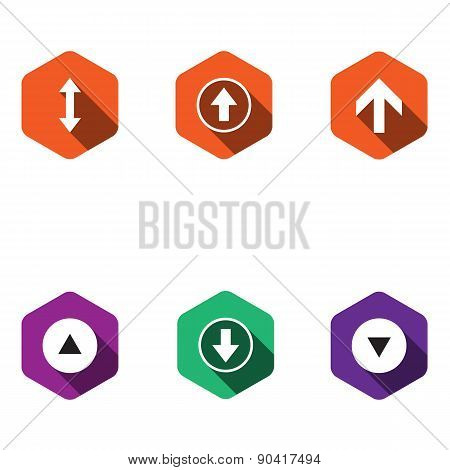 Set Icons With Arrows. Flat Design