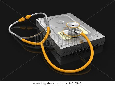 stethoscope and Hard Drive (clipping path included)