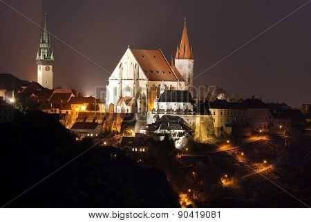 Night View Of Znojmo Town, Czech Republic