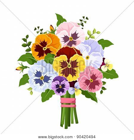 Bouquet of colorful pansy flowers. Vector illustration.