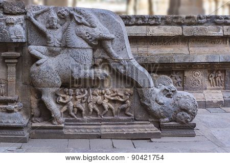 Side Of Staircase With Elephant at Mandapam.