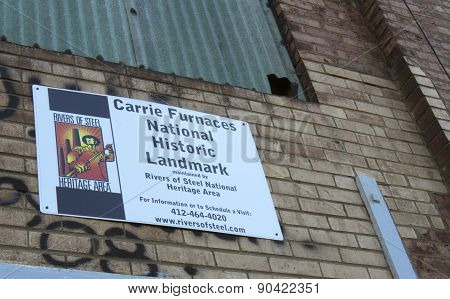 Carrie Furnaces Historic Landmark Sign