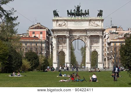 Triumphal Arch Of Peace In Milan, Italy