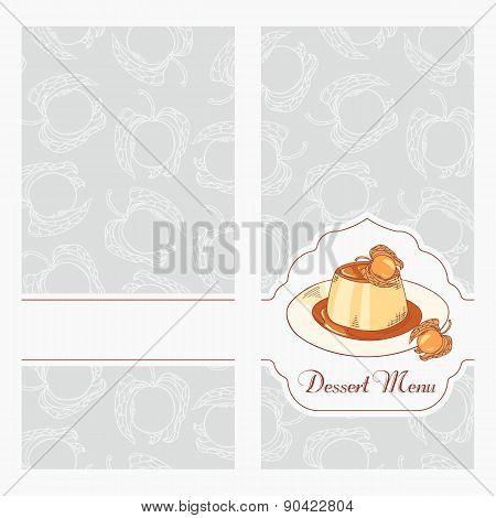 Dessert Menu Template Design For Cafe. Creme Caramel On Plate In Vector