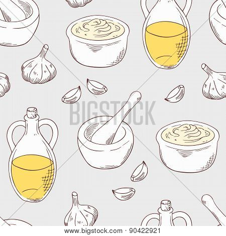 Hand Drawn Aioli Sauce Seamless Pattern Background