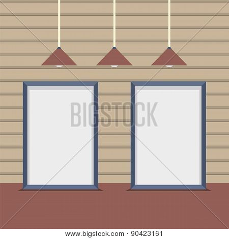 Set Blank Boards With Ceiling Lamps On Wooden Wall.