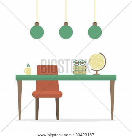 Flat Design Workplace Isolated On White.