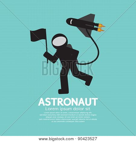 Astronaut With Spaceship Graphic.
