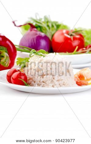 boiled rice on white plate with vegetables and prawn