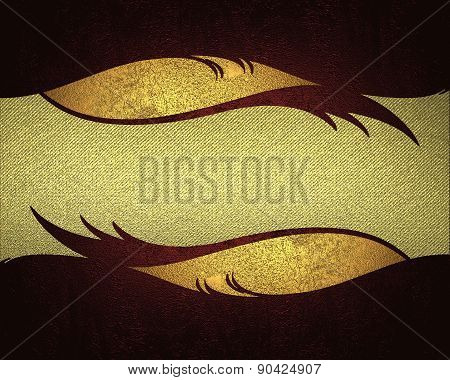 Gold Background With Gold Scuffed With A Red Pattern On Edges. Design Template