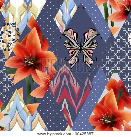 Patchwork seamless floral orange lilly pattern texture background with decorative elements