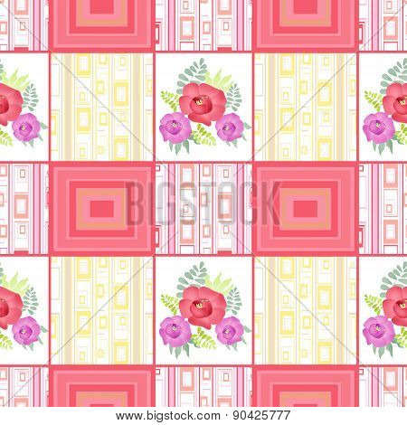 Abstract seamless patchwork checkered plaid textile romantic colors floral design pattern background