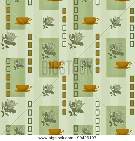 Patchwork seamless pattern cup of coffee and rose background