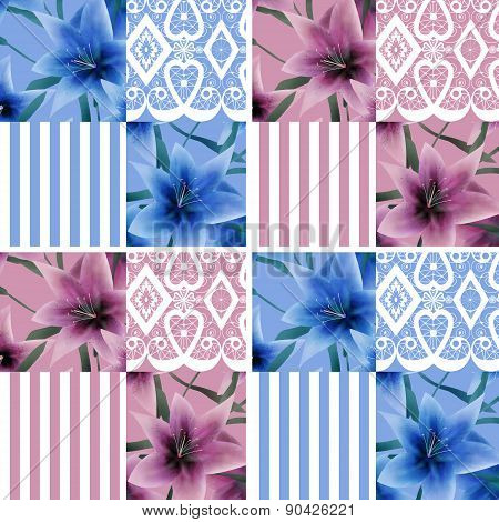 Patchwork seamless lilly pattern texture background with stripes