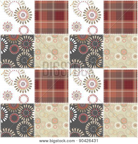Patchwork retro checkered fabric pattern
