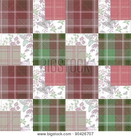 Patchwork seamless pattern with butterflies checkered background