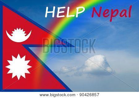 Nepal Flag With Sky