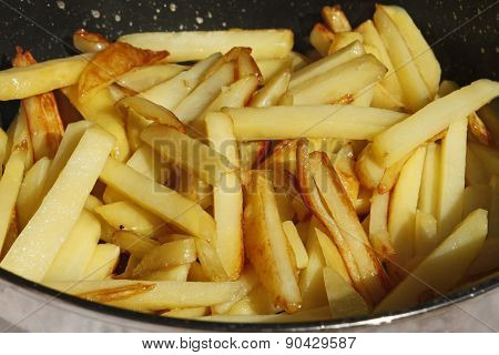 Roasted Potato Chips In A Frying Pan