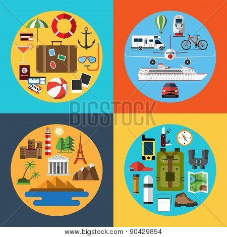 Icons set of traveling, tourism, hiking
